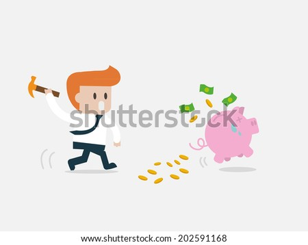 Concept Smashed piggy bank businessman running. - stock vector