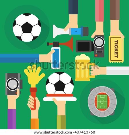 Concept soccer fan flat design.Vector illustration - stock vector