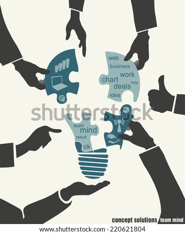 concept solutions team mind. hands and ideas - stock vector