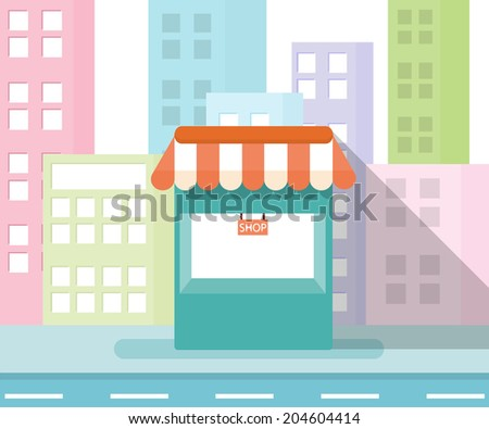 Concept Store in City - stock vector