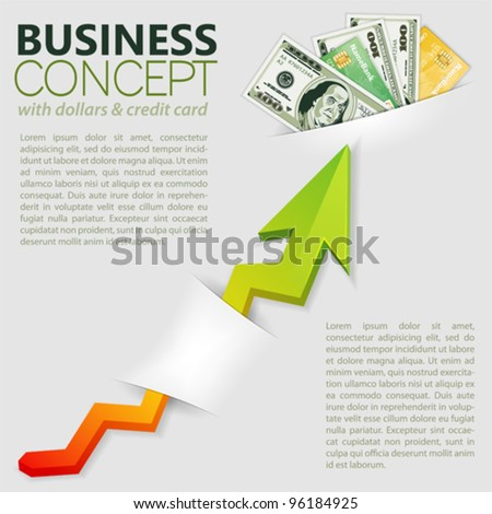 Concept Success in Business with Pack of Dollars and Graph, template for design - stock vector