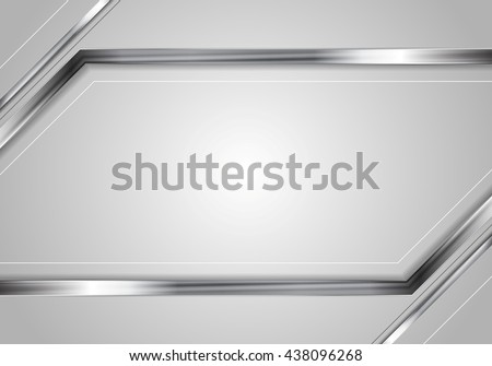 Concept tech metallic abstract striped background. Silver metal stripes on grey backdrop. Hi-tech metallic illustration - stock vector