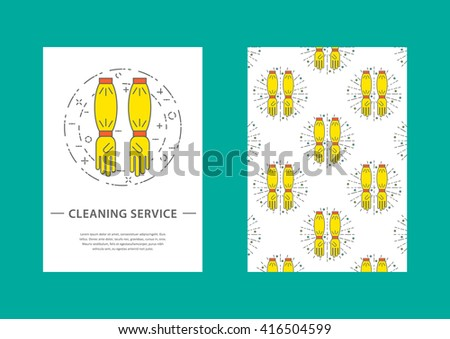 Concept vector business card template cleaning stock vector concept vector business card template for cleaning service yellow latex gloves in linear art colourmoves