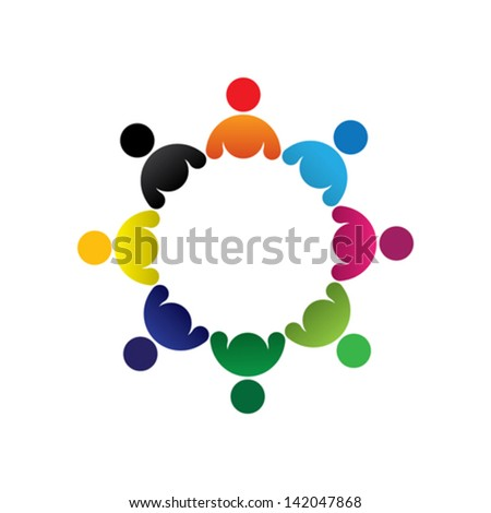 Concept vector graphic- abstract colorful children group icons ( signs ). The illustration represents concepts like worker unions, employee diversity, community friendship & sharing, kids playing, etc - stock vector