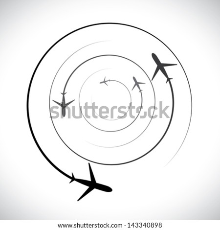 Concept vector graphic- airplane icons with its flying path. This illustration can also represent silhouette symbols of a military jet speeding up in the sky - stock vector