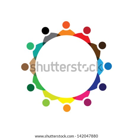 Concept vector graphic- colorful company employees meeting icons ( signs ). The illustration represents concepts like workers, employee diversity, community friendship & sharing, children playing, etc - stock vector