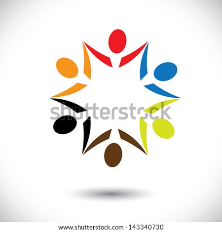 Concept vector graphic- colorful happy party people icons ( signs ). The illustration shows concepts like worker unions, employee diversity, community friendship & sharing, kids playing, etc - stock vector