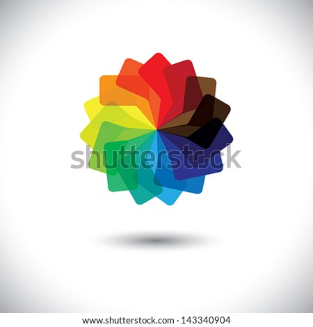 Concept vector graphic- colorful speech bubbles as circle icon(symbol). The illustration shows a circular arrangement of chat signs in bright colors like yellow, red, orange, green, blue, etc - stock vector
