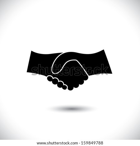 Concept vector graphic icon - business hand shake in black & white. This handshake icon can also represent new partnership, friendship, unity and trust, greeting & gestures, etc - stock vector