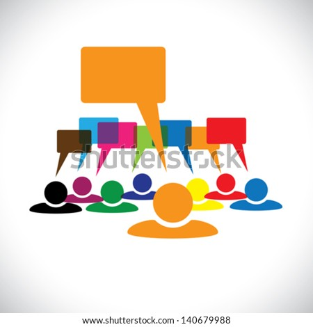 Concept vector graphic- leader & workers talking ( speech bubbles ). This colorful illustration represents people diversity, teamwork, employee conversation & interaction, worker discussions, etc - stock vector