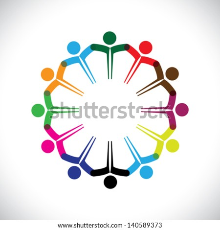 Concept vector graphic- people or kids icons with hands together. This illustration can also represent people meeting, teamwork, network, employee unity & diversity, children playing, etc