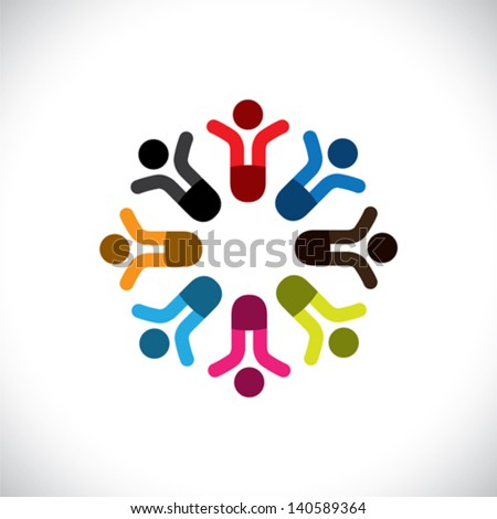 Concept vector graphic- social media communication & people icons. This illustration can also represent people meeting, teamwork, network, employee unity & diversity, worker groups, etc - stock vector