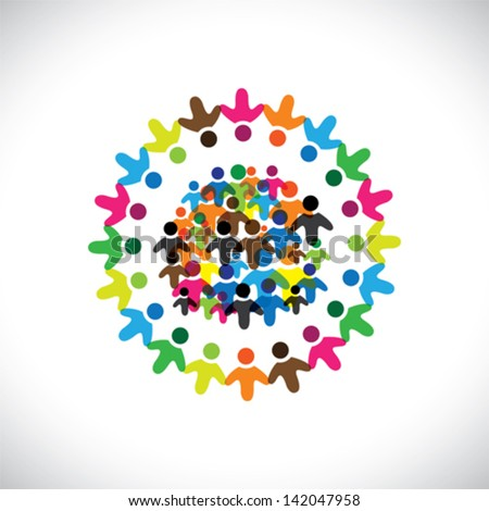 Concept vector graphic- social network of colorful people icons ( signs ). The illustration represents concepts like worker unions, employee diversity, community friendship & sharing, kids playing,etc - stock vector