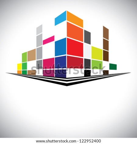 Concept vector icon - Colorful buildings of urban skyline with skyscrapers,tall towers and streets in colors like red,orange,blue & yellow. The logo template shows modern buildings in abstract way. - stock vector