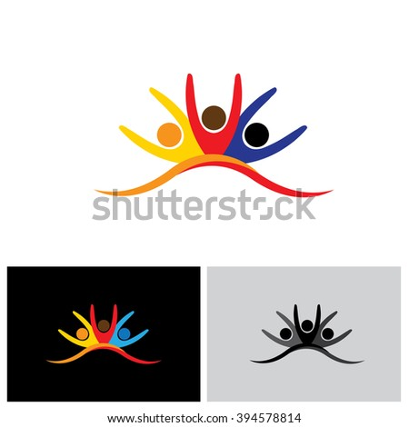 concept vector icon of happy friends together. This vector graphic also represents excited kids, motivated staff, inspired office people, happy children playing, friends partying frenzy - stock vector