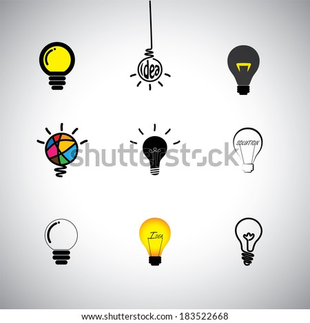 concept vector icons set of different kinds idea & light bulbs. This graphic can also represent genius, cleverness, providing solution, solving problems, intelligence, smartness, innovation