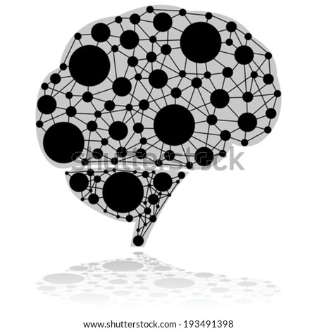 Concept vector illustration showing a brain made up of circles connected by black lines - stock vector