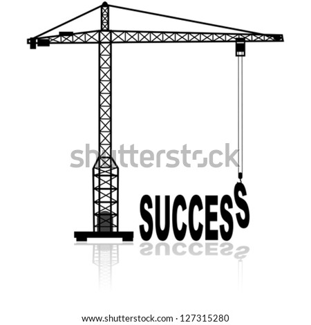 Concept vector illustration showing a construction crane building the word success - stock vector