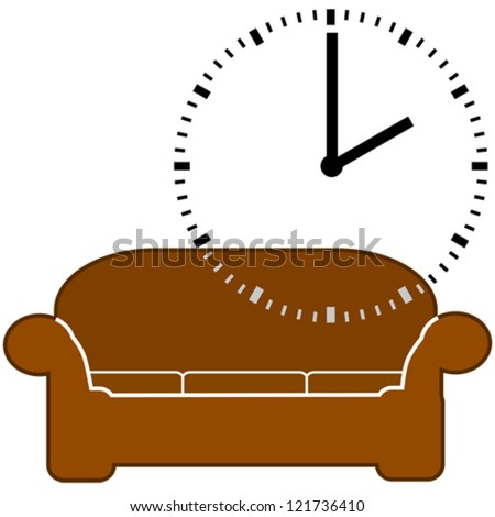 Concept vector illustration showing a couch and a dial clock displaying 2 o'clock, for nap time