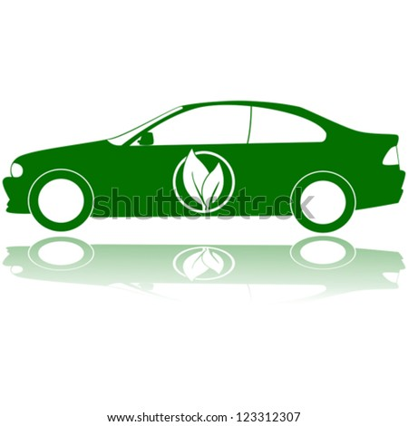 Concept vector illustration showing a green car with a couple of leafs on its door