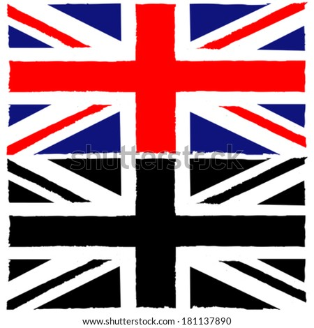 Concept vector illustration showing a painted Union Jack flag - stock vector
