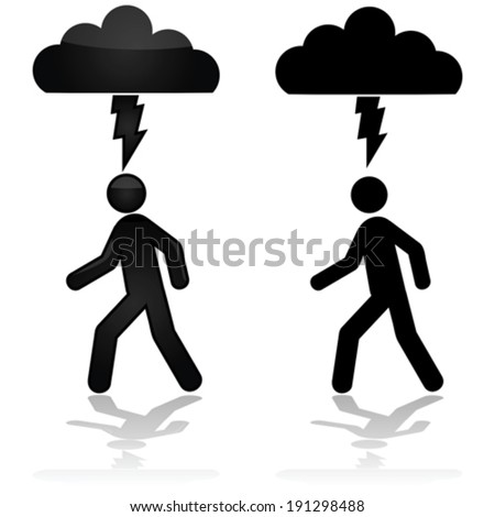 Concept vector illustration showing a person walking under a cloud with a lightning bolt - stock vector