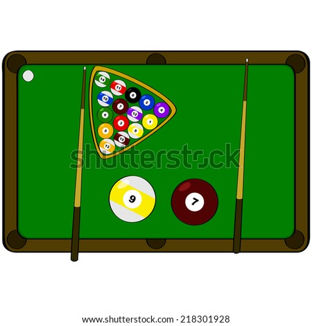 Concept Vector Illustration Showing A Pool Table With The Word Pool Made Up  By Components Of