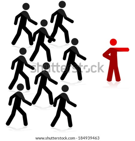 Concept vector illustration showing a red man pointing forward and a group of people following