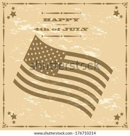 Concept vector illustration showing a retro style poster for the 4th of July, with an American flag - stock vector