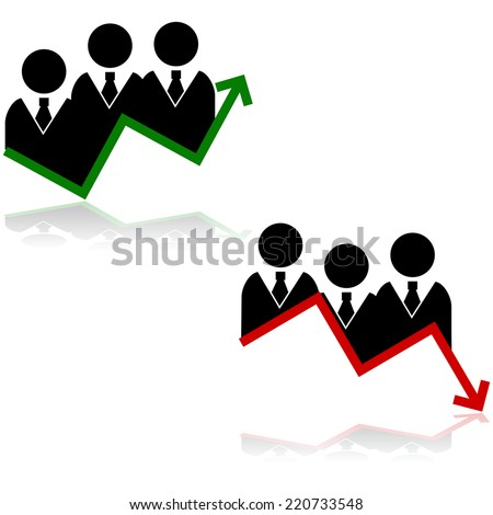 Concept vector illustration showing a team of businessmen paired with a graph going up and another going down - stock vector