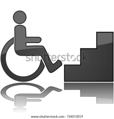 Concept vector illustration showing a wheelchair in front of stairs, to represent something inaccessible - stock vector