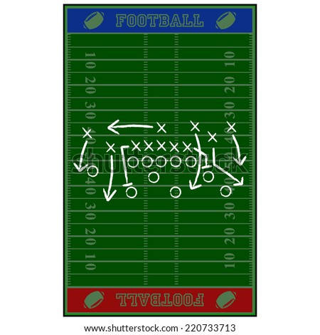 Concept vector illustration showing an American football field with a gameplan sketched over it