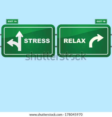 Concept vector illustration showing highway road signs with exist to stress and relax situations - stock vector