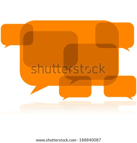 Concept vector illustration showing talk balloons overlapping and creating noise in the conversation