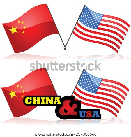 Concept vector illustration showing the flag of China alongside the flag of the United States - stock vector