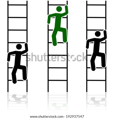 Concept vector illustration showing three different people climbing ladders