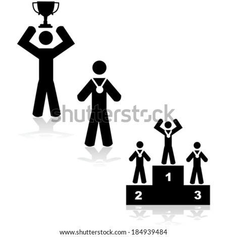 Concept vector illustration showing three different winner situations: with a trophy, a medal or in a podium - stock vector