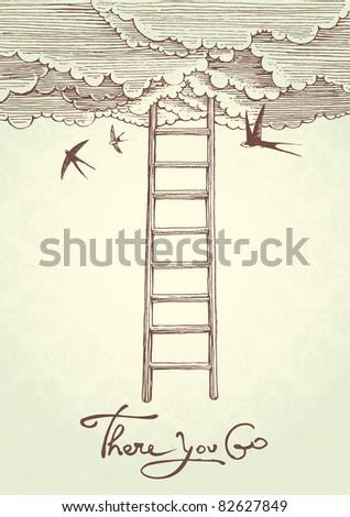 Concept vector illustration:  stairway to heaven. - stock vector