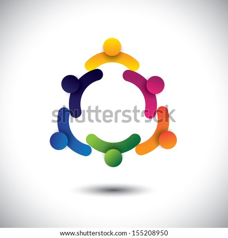 concept vector of circle kids playing or children having fun together. The graphic also represents groups of people as community, school kids interacting, workers & employees meetings - stock vector