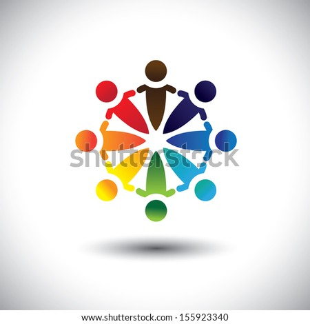Concept vector of colorful people party & having fun in circle. The illustration also represents concepts like worker unions, employee diversity, community friendship & sharing, children in school - stock vector