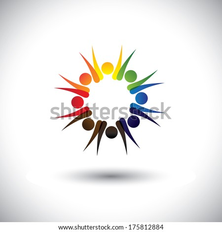 concept vector of motivated office employees together. This vector graphic also represents cheerful workers, motivated staff, inspired office people, happy children playing, friends partying frenzy - stock vector