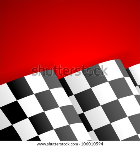 Concept - Winner. Racing Checkered Flag Finish on red background, vector - stock vector