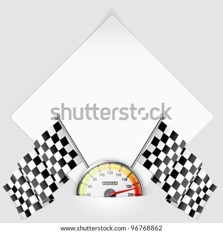 Concept - Winner. Sheet of white paper for your text or photos, mounted in pocket with Speedometer and Flags