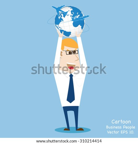 Concept with Business cartoon people working with Airplane for Transportation, Vector Illustration EPS 10. - stock vector
