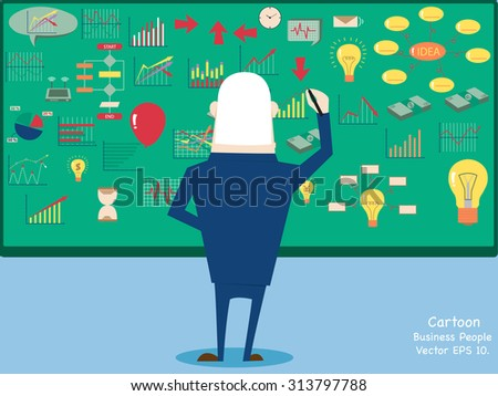 Concept with Business cartoon people working with finance graph, Vector Illustration EPS 10. - stock vector