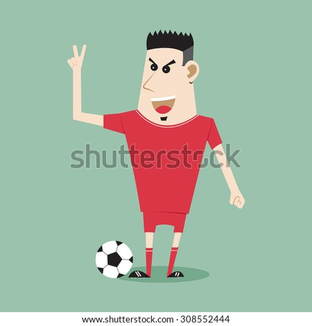 Concept with cartoon play soccer football, Vector Illustration EPS 10. - stock vector
