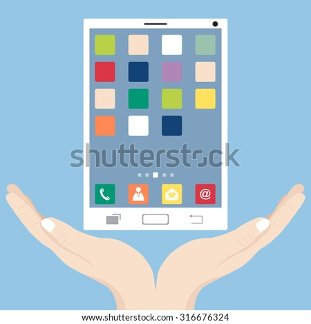 Concept with hand holding mobile phone  interface with smart phone, Vector Illustration EPS 10.