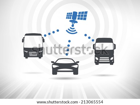 Concept with intelligent vehicles connected via satellite. Vehicles in front view. Fully scalable vector illustration. - stock vector