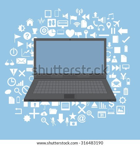 Concept with Laptop on Web icons, Business icons and Technology icons for technology and business concept, Vector Illustration EPS 10. - stock vector