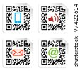 Concept with QR code label with the social media icons. Vector file available. - stock vector
